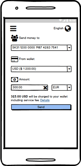 Cryptocurrency Exchange Application Loading money to the chosen account screen