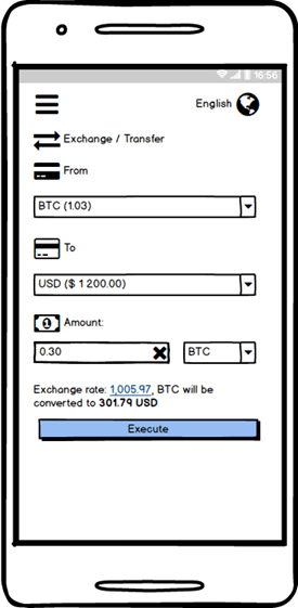 Cryptocurrency exchange application Cryptocurrency conversion screen