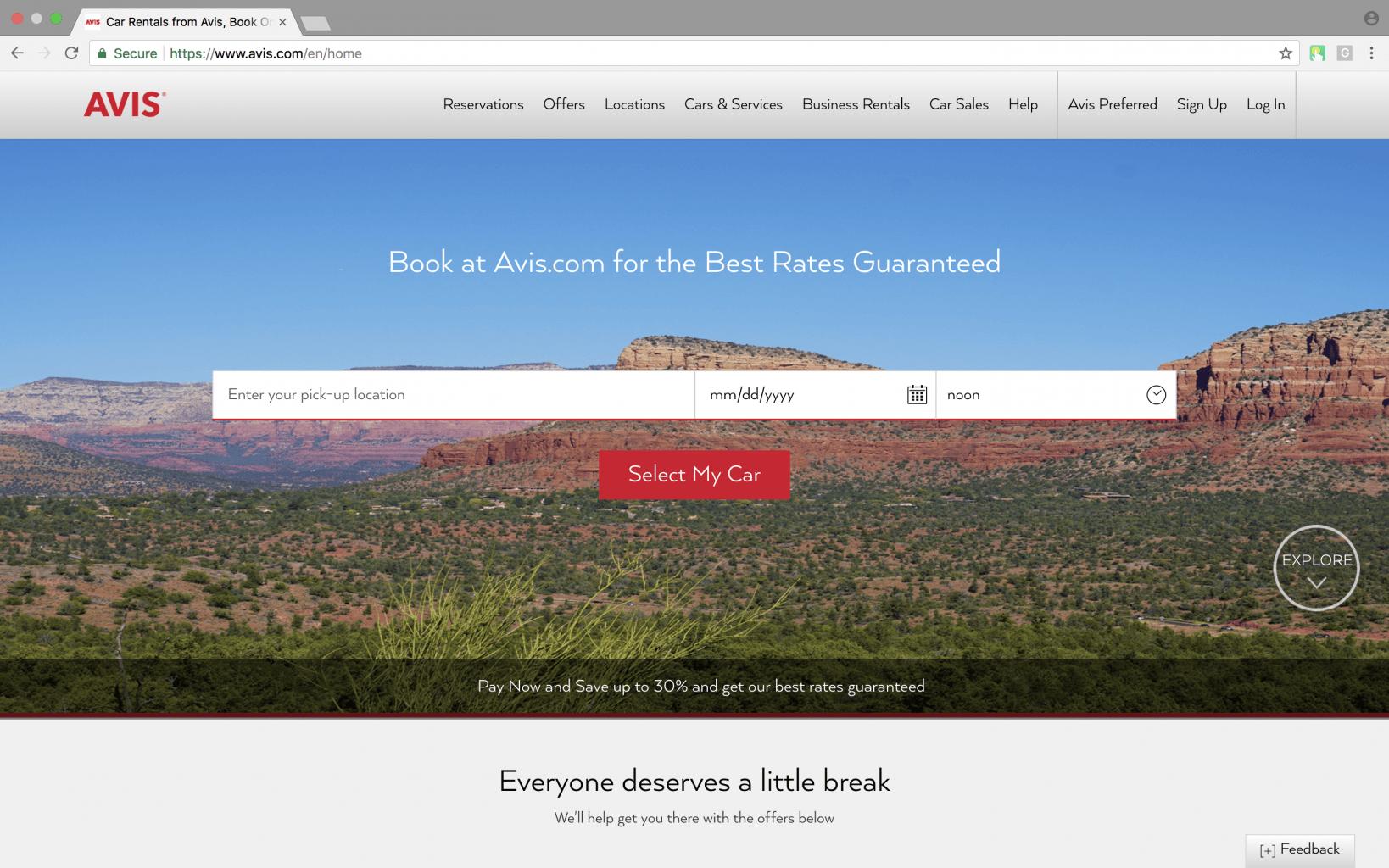 Avis car rental web application home page screenshot