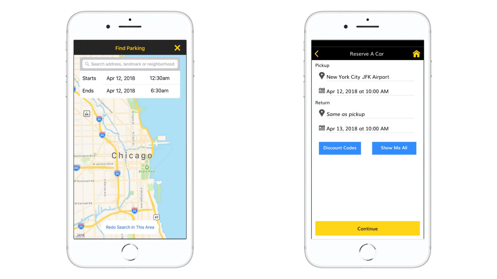 Hertz car rental mobile application parking location and car booking screenshots