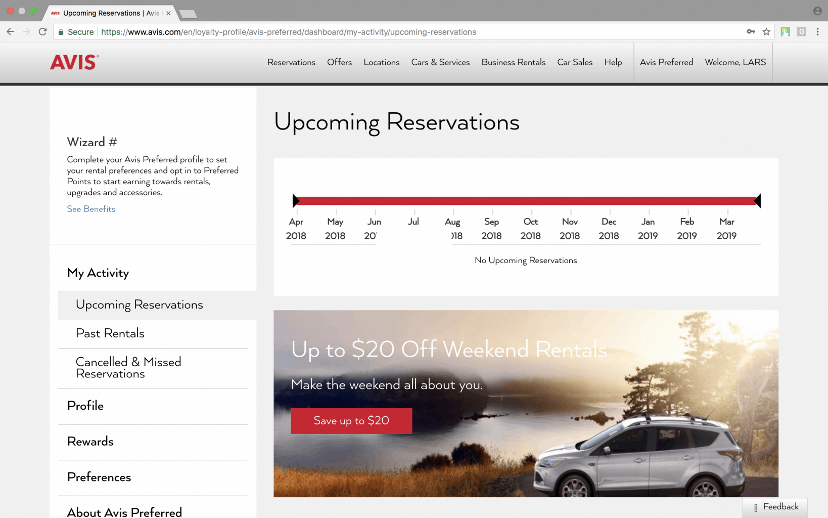 upcoming car reservation screen