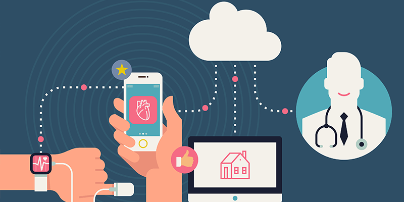 IoT applications in healthcare illustrations