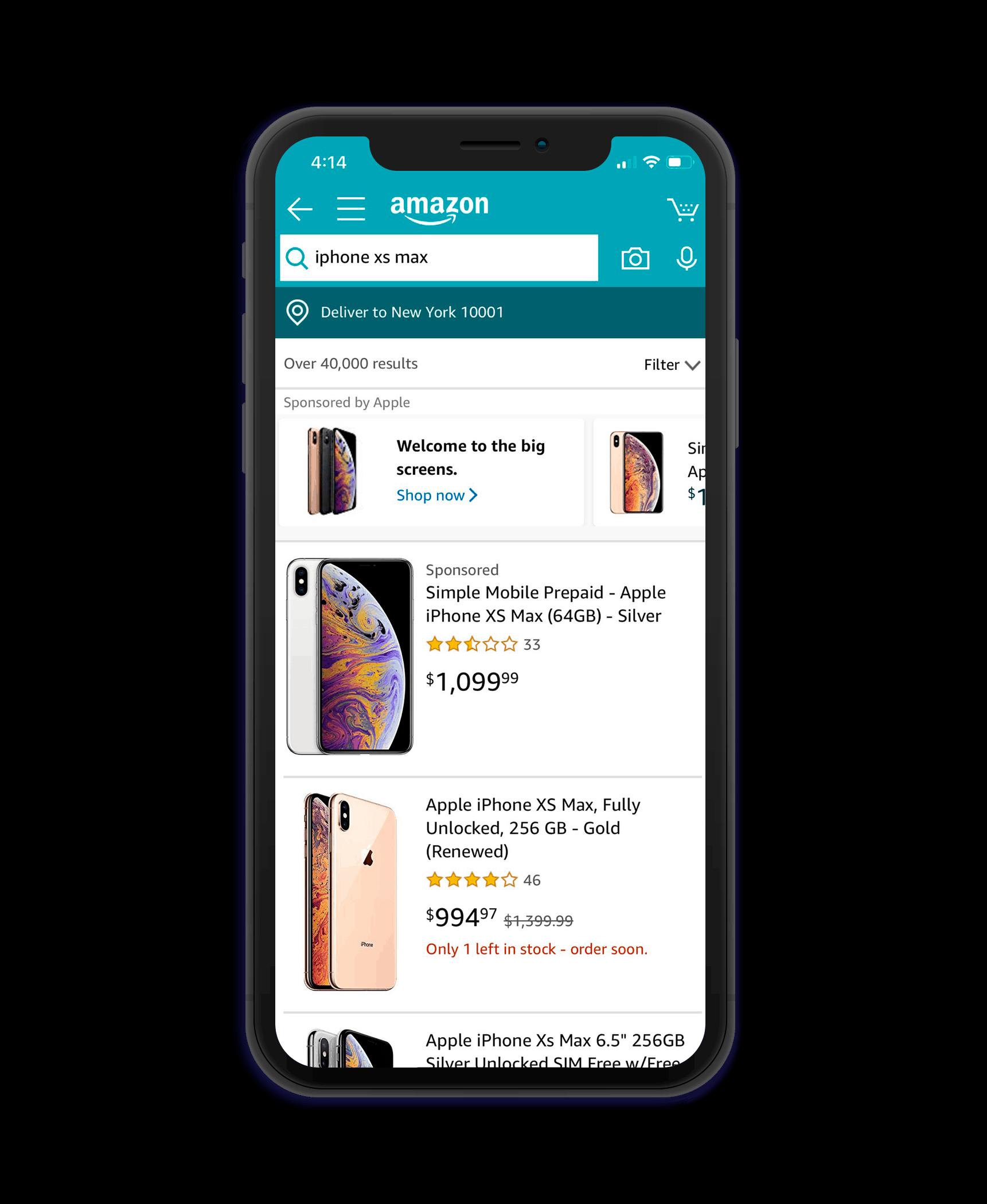 eCommerce application screenshot