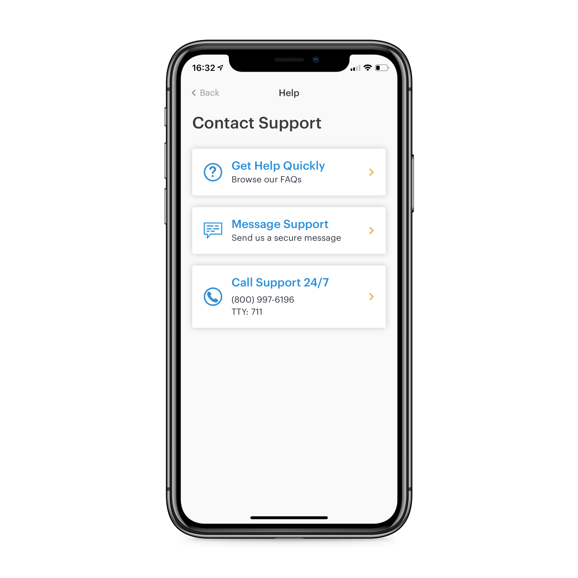 Patient's app: contact support