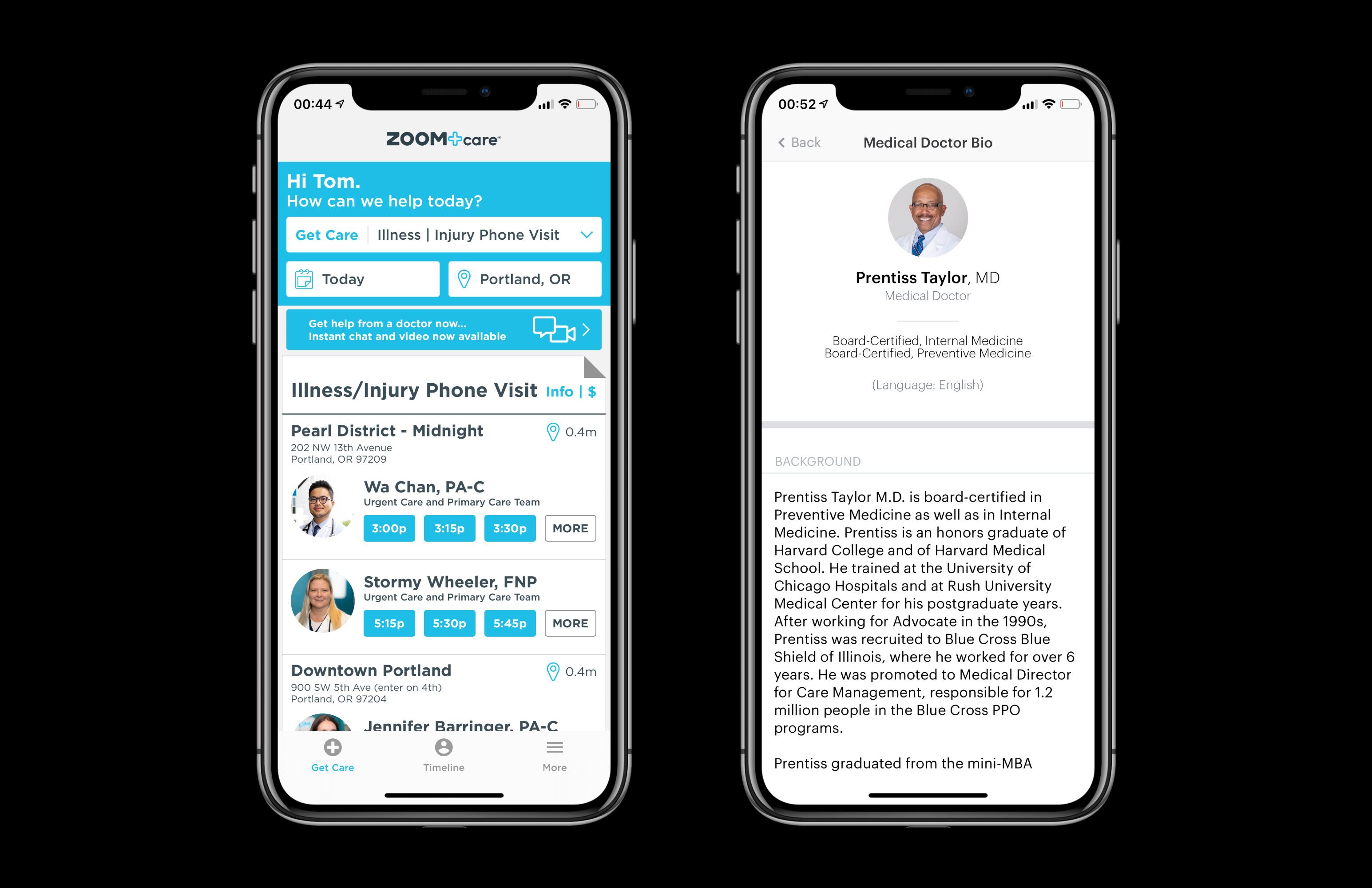 Telemedicine software/patient's app: list of doctors