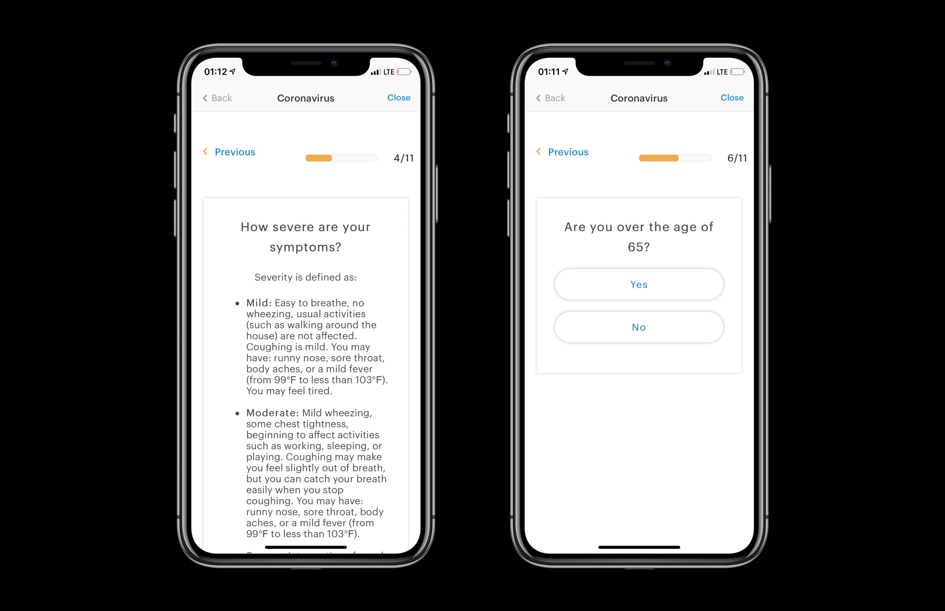 Patient's app: assessments