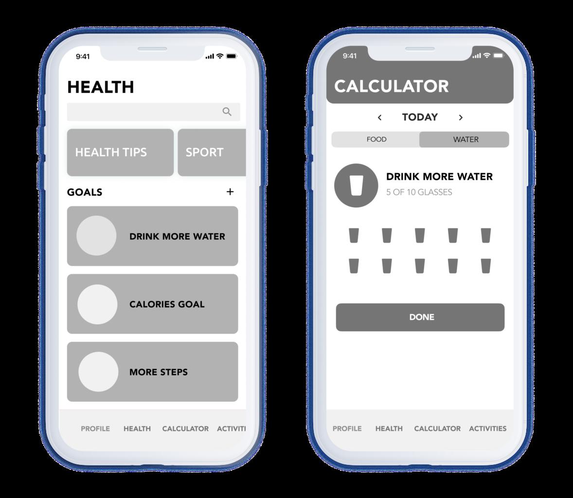 custom mobile app development services: wireframes