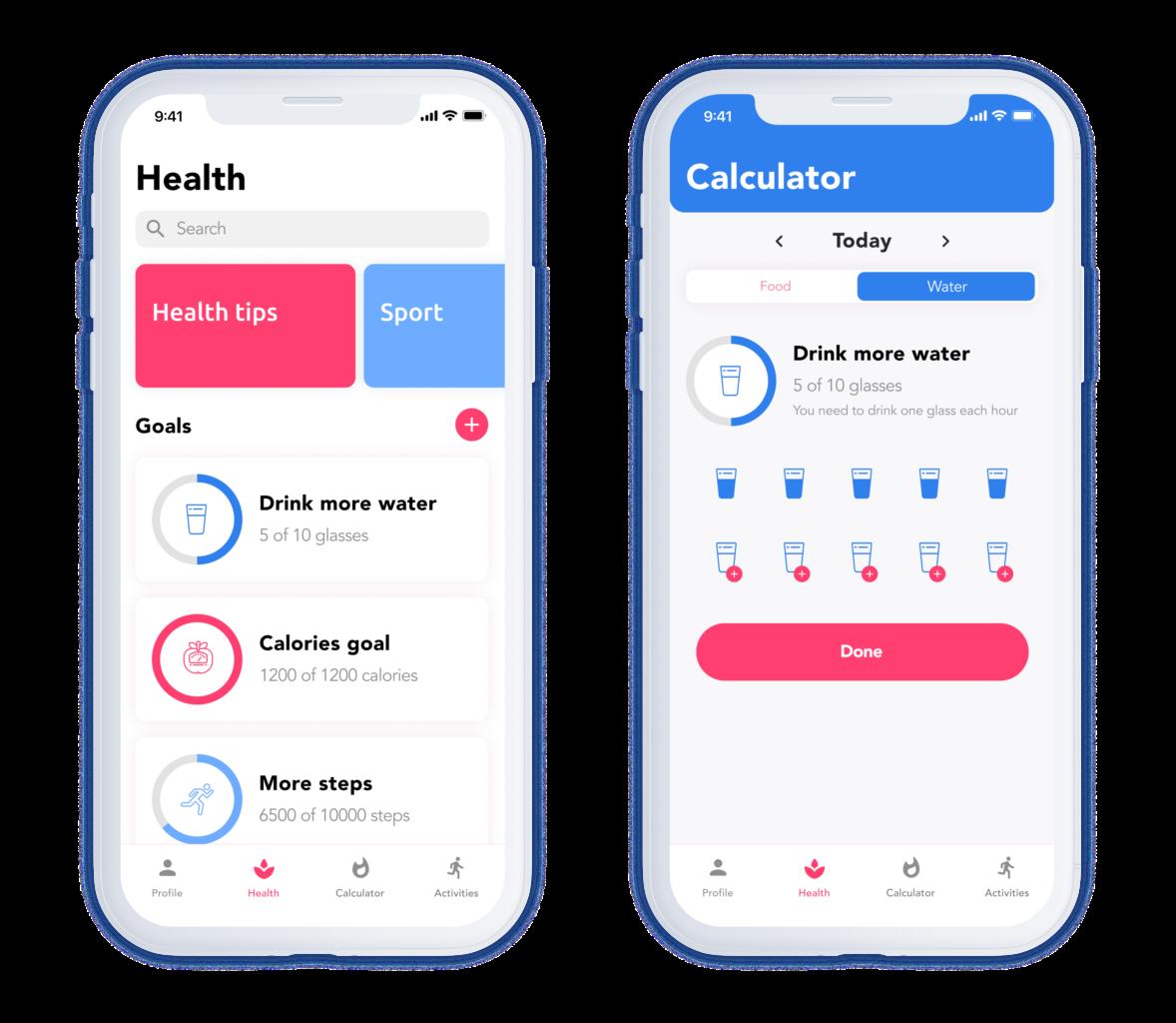 custom mobile app development services: mockups