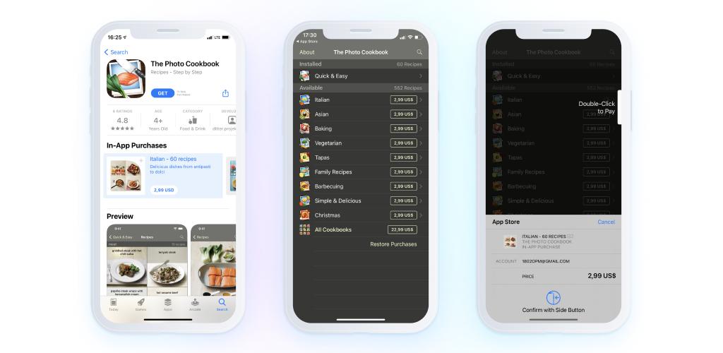cooking app - screenshots - monetize an app