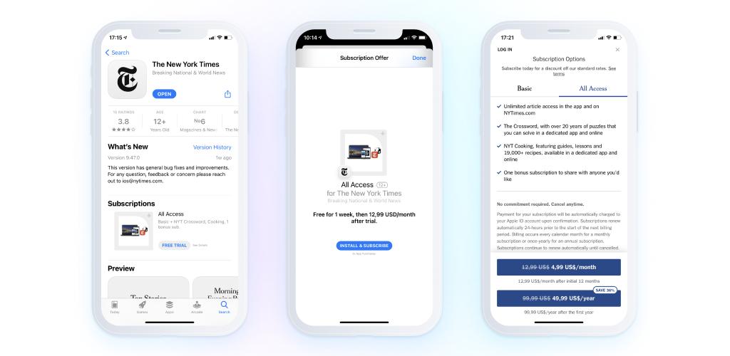 news application - screenshots - subscriptions